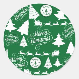 Feliz día de fiesta del reno de Santa de los árbol Etiqueta