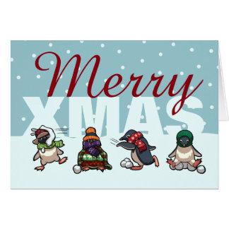 Feliz dibujo animado de la bola de nieve del tarjeta de felicitación