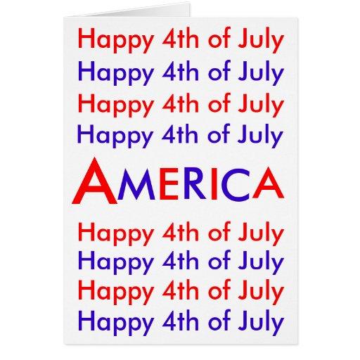Feliz el 4 de julio, América, tarjeta de felicitac