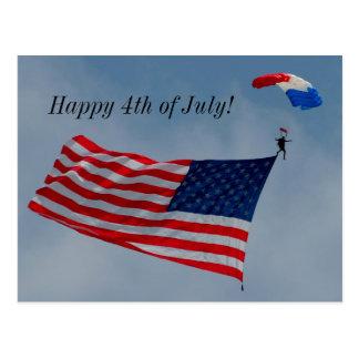 Feliz el 4 de julio con la postal de la bandera