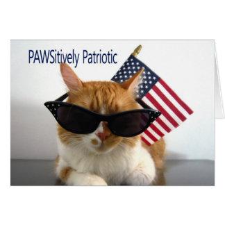 Feliz el 4 de julio - gato patriótico de tarjeta de felicitación