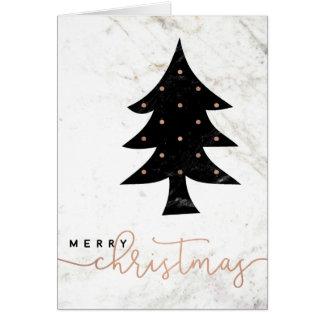 Feliz en navidad moderno del mármol el   tarjeta de felicitación