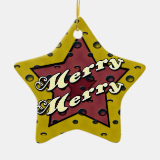 Feliz feliz estrella ocre ornamento para arbol de navidad