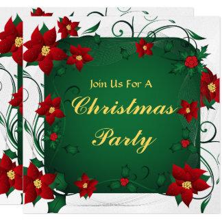 Feliz fiesta de Navidad del Poinsettia Invitación 13,3 Cm X 13,3cm