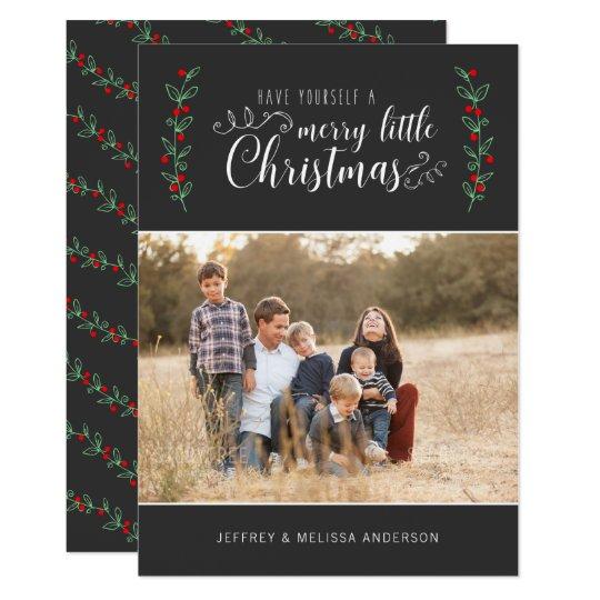 Feliz foto del navidad de la baya del color invitación 12,7 x 17,8 cm