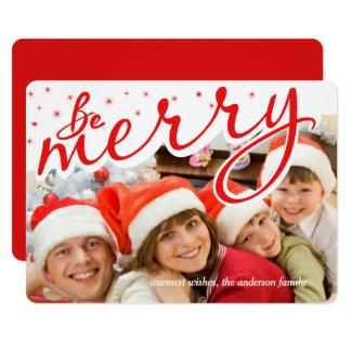 Feliz foto retra del día de fiesta del navidad de invitación 12,7 x 17,8 cm
