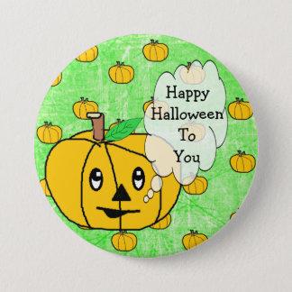 Feliz Halloween a usted botón lindo de la calabaza