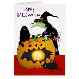 Feliz Halloween, bruja, calabaza, gato negro, Tarjeta De Felicitación