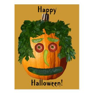 Feliz Halloween - cara sin cortar de la calabaza Postal