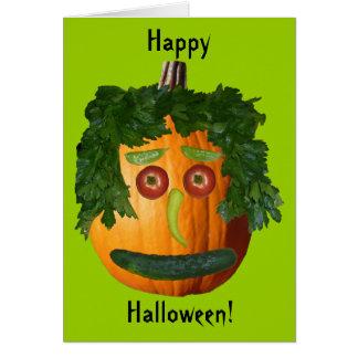 Feliz Halloween - cara sin cortar de la calabaza Tarjeta De Felicitación