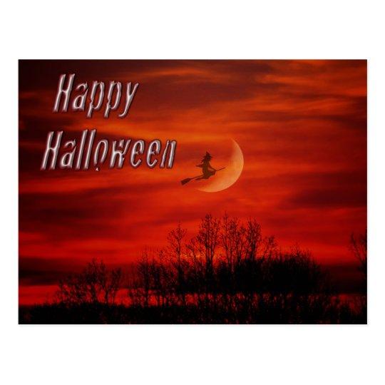 Feliz Halloween con la postal de la bruja y de la