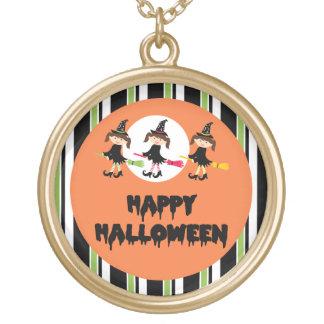 Feliz Halloween de tres pequeño brujas Collar Personalizado