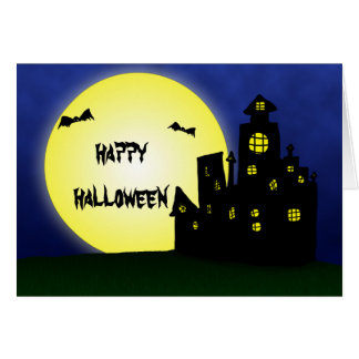 Feliz Halloween divertido fantasmagórico de la Tarjetón
