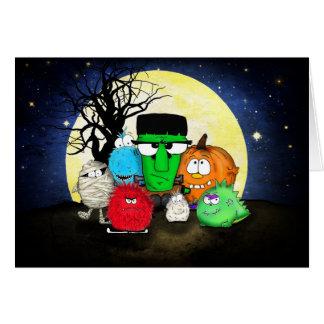 Feliz Halloween lindo de los monstruos Tarjeta De Felicitación