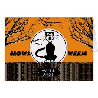 Feliz Halloween para la tía y el tío, gato de Tarjeta De Felicitación