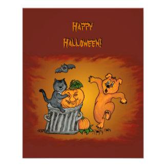 ¡Feliz Halloween! Perro y araña del palo del gato Flyer A Todo Color