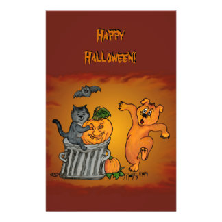 ¡Feliz Halloween! Perro y araña del palo del gato Tarjeta Publicitaria