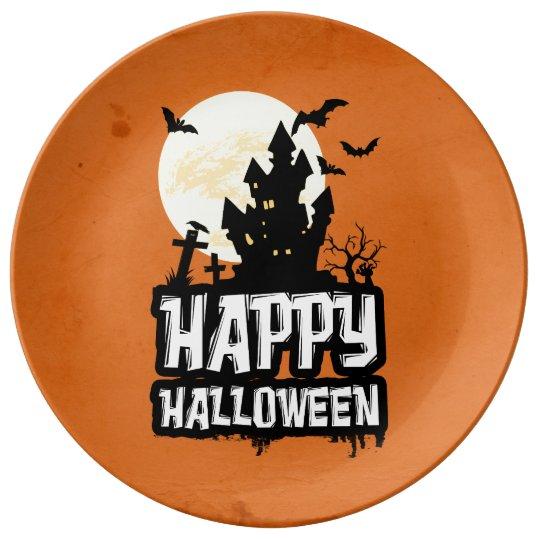Feliz Halloween Plato De Porcelana