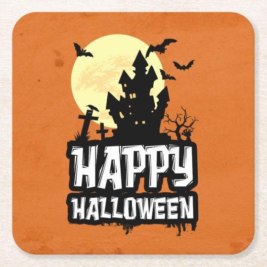 Feliz Halloween Posavasos De Papel Cuadrado