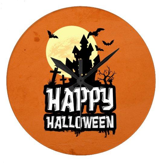 Feliz Halloween Reloj Redondo Grande