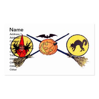 Feliz Halloween (tarjeta de Halloween del vintage) Tarjetas De Visita