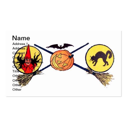 Feliz Halloween (tarjeta de Halloween del vintage) Plantilla De Tarjeta De Visita