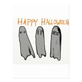 Feliz Halloween tres fantasmas del dibujo animado Postal