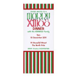 Feliz invitación verde de la cena de navidad de X