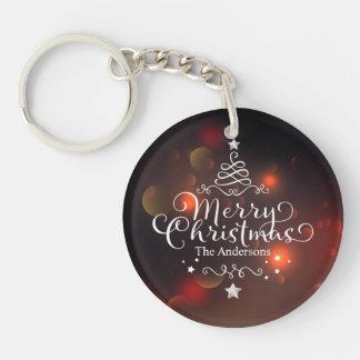 Feliz llavero personalizado del árbol de navidad
