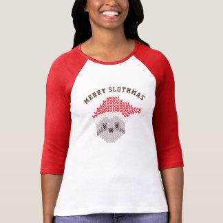 Feliz manga del raglán 3/4 de Slothmas de la Camiseta