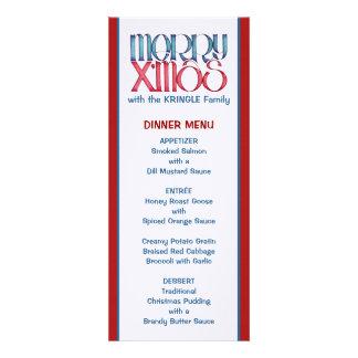 Feliz menú azul de la cena de navidad de X mas