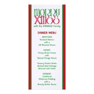 Feliz menú verde de la cena de navidad de X mas