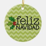 Feliz Navidad con los galones verdes Adorno De Navidad
