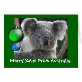 Feliz Navidad de la tarjeta de la koala de
