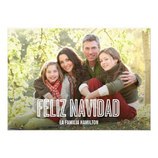 Feliz Navidad del día de fiesta tarjetas con fotog Custom Invitation