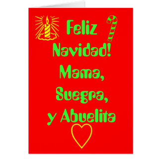 ¡Feliz Navidad! Mamá, Suegra, y Abuelita Tarjeton