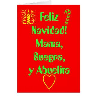 ¡Feliz Navidad! Mamá, Suegra, y Abuelita Tarjeta De Felicitación