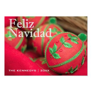 Feliz Navidad - verde/decoración roja del Invitación 12,7 X 17,8 Cm