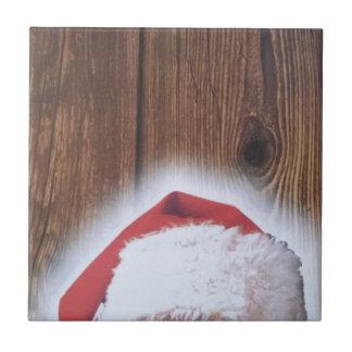Feliz Nochebuena, gorra de Santa Azulejo Cuadrado Pequeño