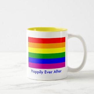 Feliz nunca después de/boda gay taza de café de dos colores