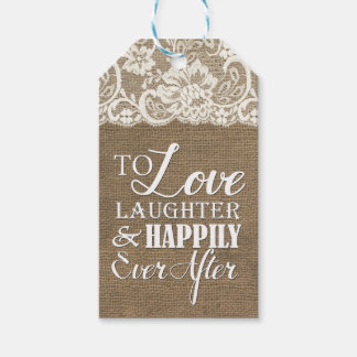 Feliz nunca después del boda del cordón de la etiquetas para regalos