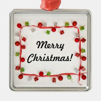 Feliz ornamento de la guirnalda adorno navideño cuadrado de metal