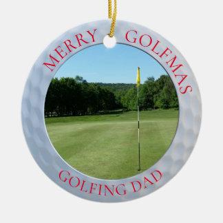 Feliz ornamento Golfing de la foto del golf del