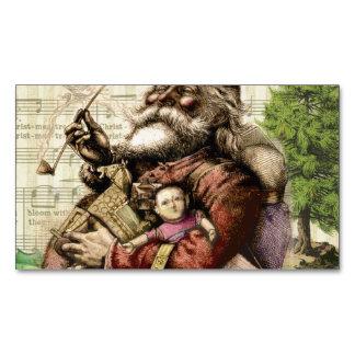Feliz Papá Noel y el árbol de navidad Tarjetas De Visita Magnéticas (paquete De 25)