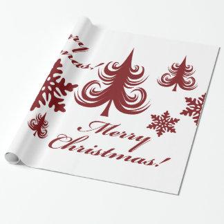 Feliz papel de regalo festivo de los copos de