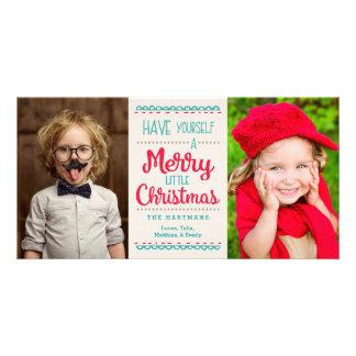 Feliz pequeña tarjeta de la foto del navidad