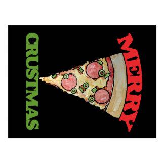 Feliz pizza del navidad de Crustmas Postal