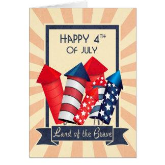 Feliz retro el 4 de julio con los fuegos tarjeta de felicitación