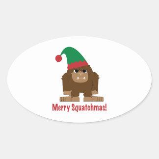 ¡Feliz Squatchmas! Pegatina Ovalada