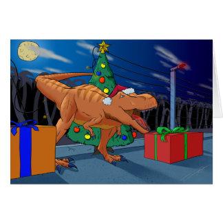 Feliz tarjeta de felicitación de T-Rexmas